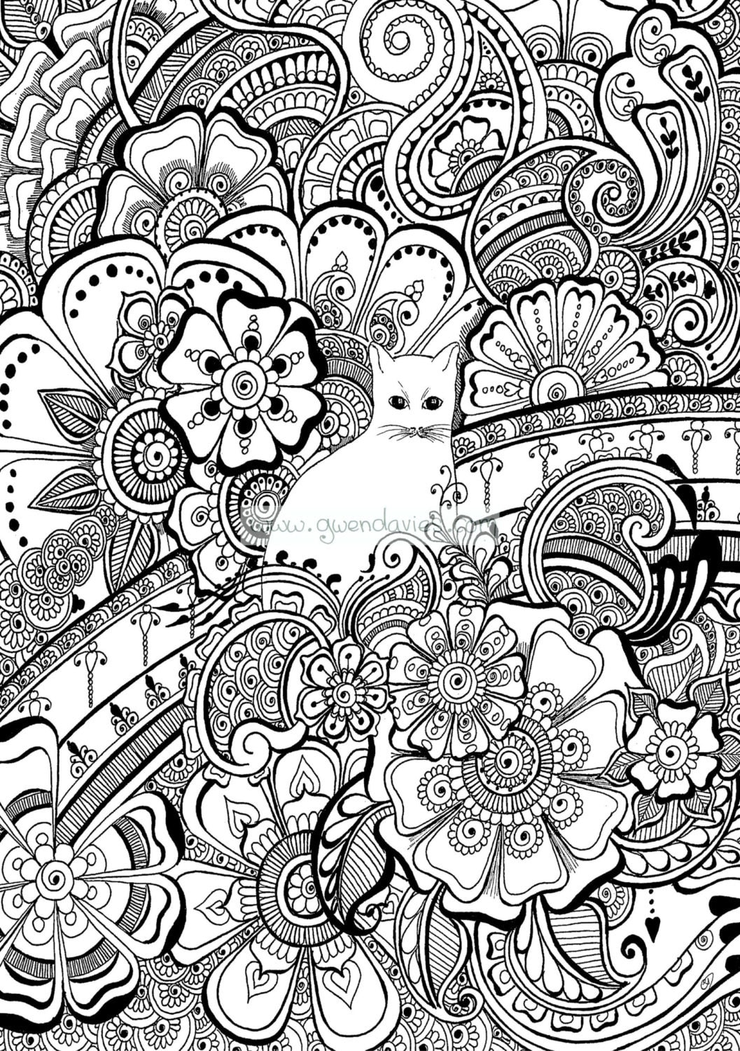 Colour the cat with henna flowers colouring in sheet for for Henna coloring pages