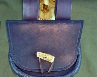 Leather Belt Pouch Antler Button, Pirate, Bushcraft, Costume, Reenactment