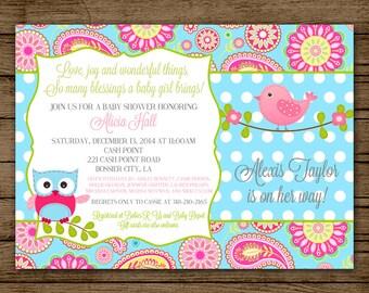 Baby Shower Invitation Owl Bird Pink Aqua Paisley Bird Diaper Shower Polka Dot It's a Girl Invite JPEG 5x7 Digital File PDF JPEG Printable