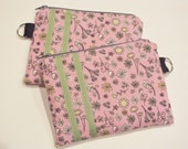 Make Up Bag Pink Spring Flowered Zippered Bag or Pouch to hold Cosmetics, Makeup, Change or Coins, Pencils, or Organize Your Purse. Clutch,