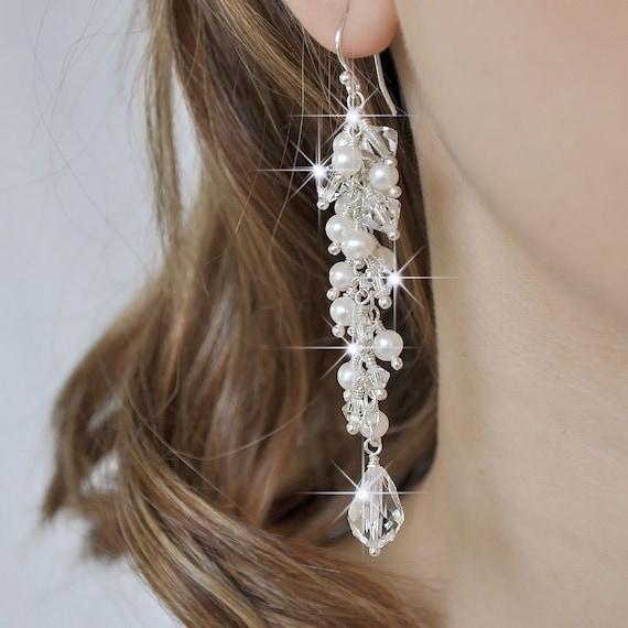 Long Pearl Bridal Earrings, Freshwater Pearl Wedding Earrings, Statement Bridal Earrings