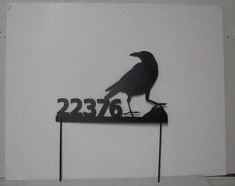 Crow 003  Address Signs Custom Metal Yard Art Wildlife Silhouette