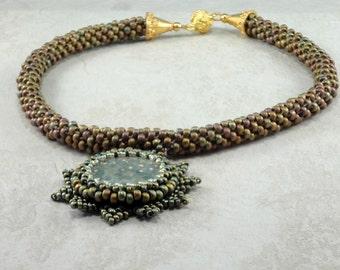 Green Ocean Jasper Bead Woven Necklace