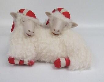 Porcelain and Wool Sleeping Holiday Sheep Elf Twins