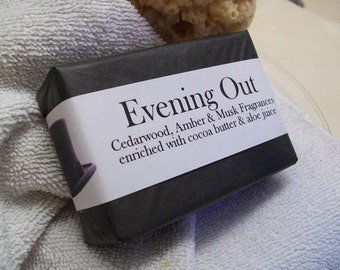 Evening Out Handmade Soap with a Cedar-Musk-Amber fragrance plus Tussah Silk and Shea Butter