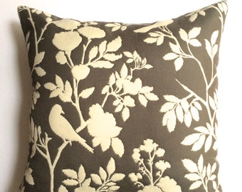 """Gray and white birds on branches 18"""" x 18"""" pillow covers -designer decorative toss pillows - throw pillows"""