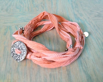 Adjustable Bracelet -  Silk Ribbon Wrap Bracelet - Sport Bracelet - Yoga Wrap Bracelet - Calm Peach