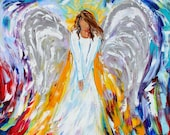 Print of Guardian angel Gallery Quality Giclee Print on canvas from image of past Original painting by Karen Tarlton fine art