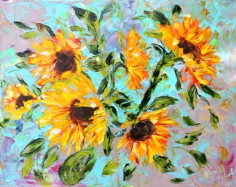 Fine Art Print Autumn Sunflowers made from image of past oil painting by Karen Tarlton