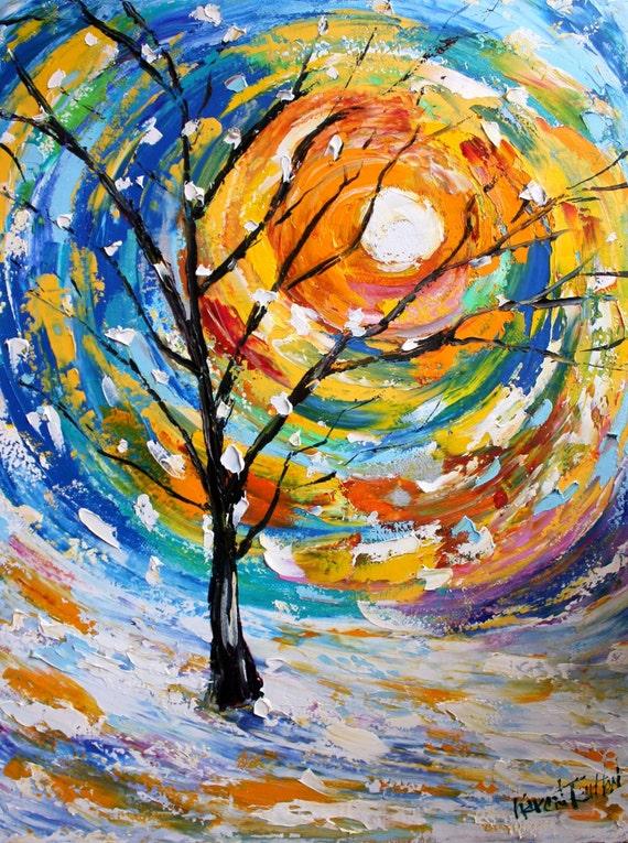 Original Oil Painting Sunrise Winter Snow Tree Palette Knife