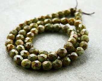 6mm Olive Czech Picasso Beads, Czech Glass Round Beads, Fire Polished Beads, Opaque Glass & Speckled Metallic Picasso (50pcs)