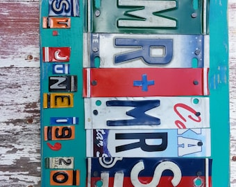 MR and MRS WEDDING Name License Plate Sign Word Personalized Customized Word Birthday Baby Shower Anniversary Tin Aluminum Art Recycled