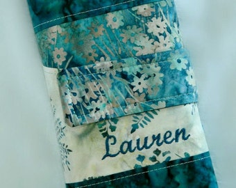 Spill Proof Interchangeable Knitting Needle Case Orgainzer Teal Leaves and Floral Batik DPN Circular Personalized Option - Made to Order