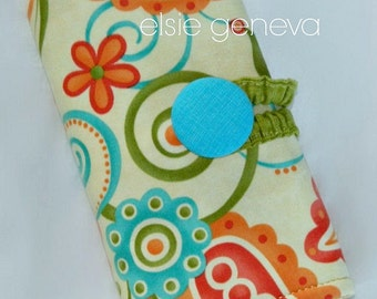 Paisley & Floral Crochet Hook Case / Organizer with Zipper Pocket Orange Lime Green Aqua Blue and Yellow