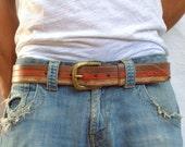 for father Tri color Leather Belt Handmade Brown Orange Beige belt by Ishaor
