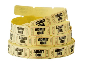 YELLOW single row tickets- choose your quantity- 10, 25, 50, 100, 200 - Wedding Reception Drink Tickets, Raffle, movie night, scrapbooking