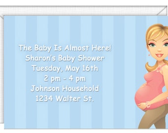 Personalized Baby Shower Invitations- Mother-To-Be Invitations- with envelopes. Inexpensive, cheap. Standard Postage.  (51070)