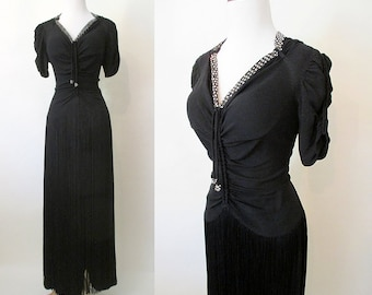 Glamorous 1940's Black Crepe Gown with Long Fringe and Rhinestone Details Old Hollywood Glamour Starlet Pinup Vixen Size-Small