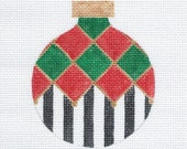 Harlequin and Stripes Needlepoint Ornament - Red-Green - Jody Designs B116B
