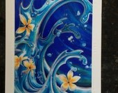 Blue hawaii Christie Marie Art- Tropical Plumeria Flowers waves One Embossed blank Art Greeting Cards, Note Card with envelope Hawaiian art