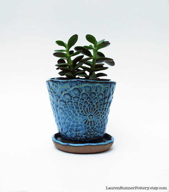 Planter blue lace with saucer succulent by laurensumnerpottery - Indoor plant pots with saucers ...