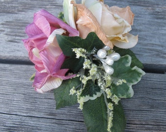 Dusty pink and Cream Roses Hair Flower cluster -  Hair clip -WEDDINGS-
