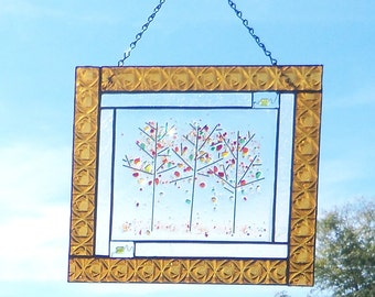 Autumn Trees In Rich Amber // Stained Glass Panel with a Fused Glass Center // Colorful // Rich // Medium Size // Tree//Fall //Foliage//Sale