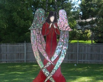 Angel in Red // Stained Glass // ARt Glass // Window // Panel // Tiffany Style // Large // Wall Decor // Home Decor // Classic // Pretty