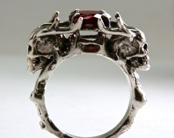 Two Antlers Skull Ring Red Garnet ring Made In NYC