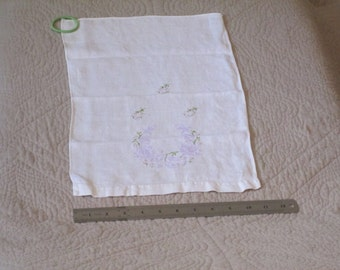 Vintage Embroidered White Linen Guest Towel - Lovely but imperfect