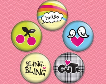 Cute Tween 1 inch Magnet Set of 5 (M0031)