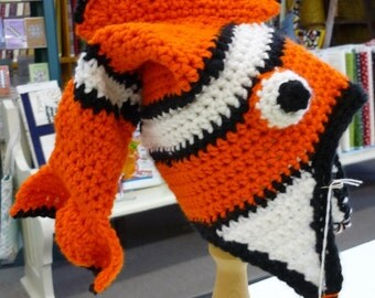 Orange Black and White Crocheted Fish Hat Size 3 to 9 Months
