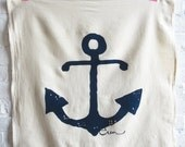 SALE Anchor Tea Towel, Navy, Kaki, Coral or Red