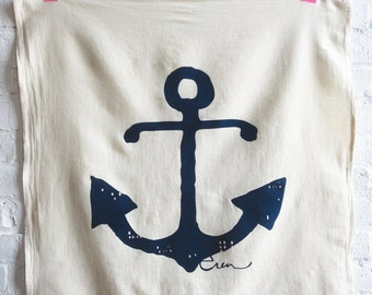 Anchor Tea Towel, Navy, Kaki, Coral or Red