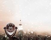 New York Skyline, NYC Skyline, Valentines, New York City Art, Blush, Peach, Hearts, Empire State Building, Women