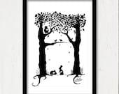 "Animal hearts - Silhouette Art Print 6""x 8"""