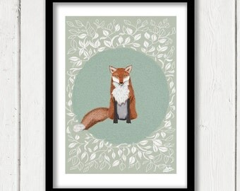 Red Foxy Fox, Flower Frame Art Print, Extra Large Poster