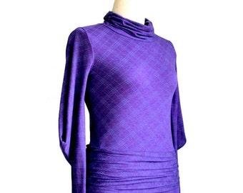Long Sleeve Dress, Checkered pleated dress with long sleeve, Day dress, Women's clothing, Custom dress, Plus Size Clothing, Plus Size Dress