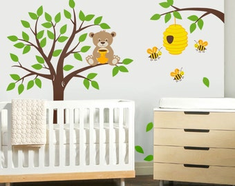 Tree Wall Decal Honey Bear And Bees Nursery Kids