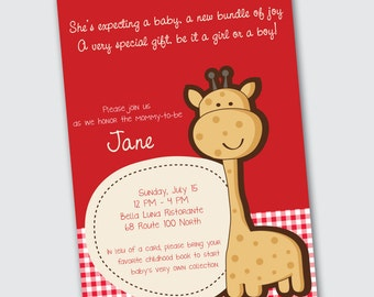 Baby Shower Invitation - Giraffe - DEPOSIT
