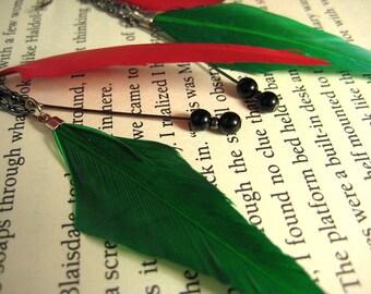Feather Earrings Medium Dangle Earrings Gift for Her Mom Gift Statement Earrings Green Red Boho Earrings Bohemian Earrings for Her Christmas