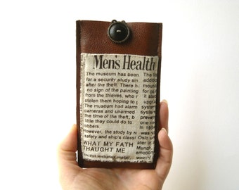 Newspaper pattern iPhone 6s cover, brown faux leather case, smartphone wallet case with pocket