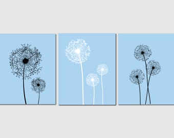 Dandelion Wall Art Bathroom Wall Art Blue White Gray Home Decor Bedroom Wall Art Living Room Kitchen Art, Any Color, Set of 3 Art Prints