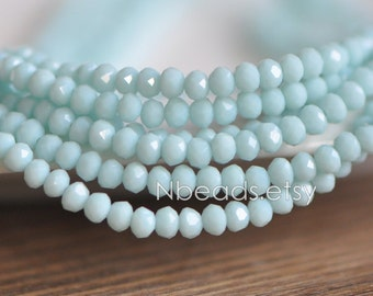 145pcs Crystal Glass Rondelle Faceted Tiny beads 2x3mm, Opaque Sky Blue (#BZ03-35)