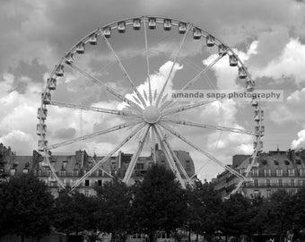 Paris Ferris Wheel black and white photograph