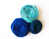 Blue Rose Hair Clip Cobalt Blue and Tiffany Blue Easy to Wear Flower Hair Clip