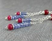 Tanzanite Ruby Earrings Genuine Ruby Dangle, Sterling Silver Chain Gemstone Stack Earrings Heart Post Earrings Long Tanzanite Dangle