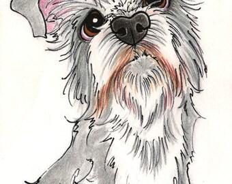 Custom Pet Caricature from Photos Single Animal 5x7