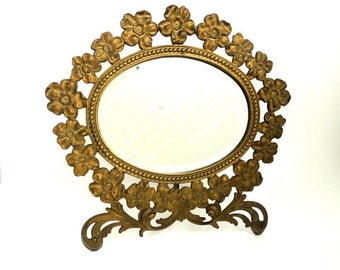 Antique Brass Cast Iron Vanity Mirror Floral Pattern Swivel Stand Beveled Mirror// Vintage Shaving Mirror