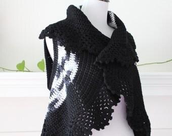 Crochet Black, Gray, White Vest Sweater